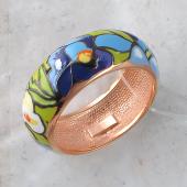 Кольцо Ирисы с цветной эмалью, серебро с позолотой