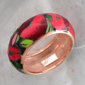 Кольцо Маки с цветной эмалью, серебро с позолотой