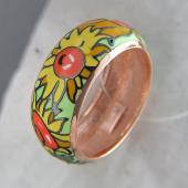 Кольцо Подсолнух с цветной эмалью, серебро с позолотой