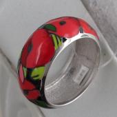 Кольцо Маки с красной эмалью, серебро