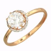 Кольцо с большим круглым фианитом и фианитами вокруг, красное золото
