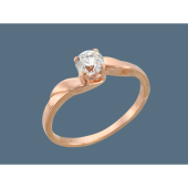 Кольцо помолвочное с круглым фианитом, серебро с позолотой