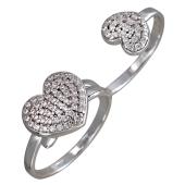 Кольцо Сердечки с фианитами на два пальца, серебро