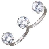 Кольцо на два пальца с большими фианитами, серебро