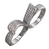 Кольцо на два пальца Лента с фианитами, серебро