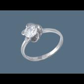 Кольцо с одним фианитом, серебро