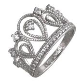 Кольцо Корона с фианитами, серебро