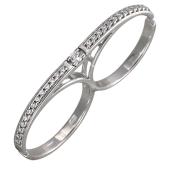 Кольцо Дорожка с фианитами на два пальца, серебро