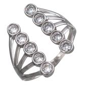 Кольцо разомкнутое с двумя дорожками фианитов, серебро