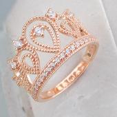 Кольцо Корона с фианитами, серебро с золотым покрытием