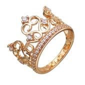 Кольцо Корона с фианитами, серебро с позолотой