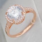 Кольцо с большим фианитом и россыпью фианитов, серебро с золотым покрытием