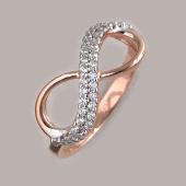 Кольцо Бесконечность с фианитами, серебро с золотым покрытием