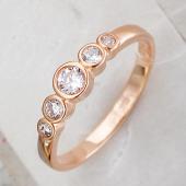 Кольцо Дорожка с фианитами, серебро с золотым покрытием