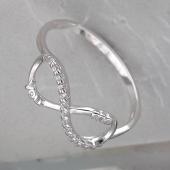 Кольцо Бесконечность с надписью You Me и фианитами, серебро