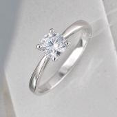 Кольцо Солитер с фианитом, серебро