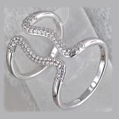 Кольцо двойное разомкнутое Волна с фианитами, серебро