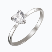 Кольцо Сердце с фианитом в форме сердечка, серебро