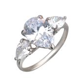 Кольцо с тремя большими фианитами огранки груша, серебро