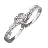 Кольцо на два пальца Сердце с фианитами, серебро