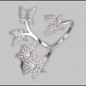 Кольцо Цветы и бабочки на два пальца с фианитами, серебро