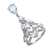 Кольцо Елочка с подвеской капелькой, серебро с финаитами
