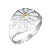 Кольцо Ромашка с желтым фианитом и белой эмалью из серебра 925 пробы