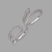 Кольцо Змея на два пальца с фианитами, серебро