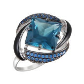 Кольцо с темно-синими нанокристаллами и черной эмалью, серебро