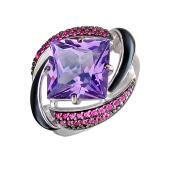 Кольцо с фиолетовым наноситалом и фианитами, серебро