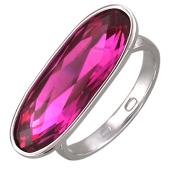 Кольцо с большим овальным фианитом цвета фуксии, серебро