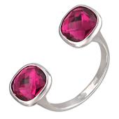 Кольцо разомкнутое с двумя розовыми фианитами, серебро