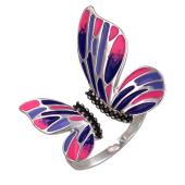 Кольцо Бабочка Махаон с яркой фиолетово-розовой эмалью и черными фианитами, серебро