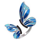 Кольцо Бабочка Махаон с яркой сине-голубой эмалью и черными фианитами, серебро