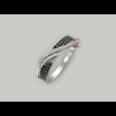 Кольцо Дорожка с чёрными и прозрачными фианитами, серебро
