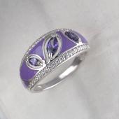 Кольцо Сирень с эмалью и фианитами, серебро