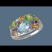 Кольцо Цветное с аметистом, гранатом, топазом, хризолитом, цитрином, фианитом, серебро