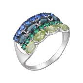 Кольцо Дорожки с топазом Лондон, гранатами, хризолитами и зелеными фианитами, серебро
