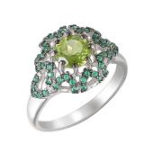 Кольцо Цветок с хризолитом и зелеными фианитами, серебро