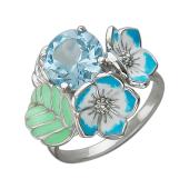 Кольцо Лесные Цветы с топазом и голубой эмалью, серебро