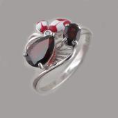 Кольцо с гранатами и цветком с эмалью и фианитом, серебро
