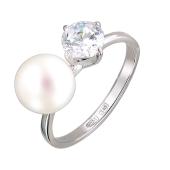 Кольцо с жемчужиной и большим фианитом, серебро