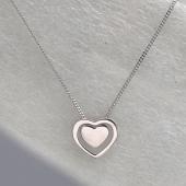 Колье двойное Сердце на панцирной цепи, серебро