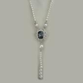 Колье с кристаллом Сваровски и жемчугом, серебро