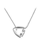 Колье Рыбка с бриллиантом на цепочке снейк, серебро