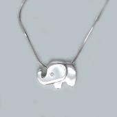 Колье Слон с бриллиантом на цепочке снейк, серебро