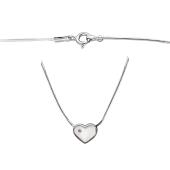 Колье Сердце с бриллиантом на цепи снейк, серебро