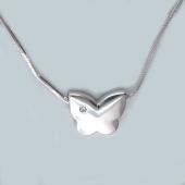 Колье Бабочка с бриллиантом на цепи снейк, серебро