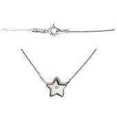Колье Звезда с бриллиантом на цепи снейк, серебро