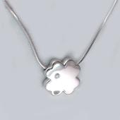 Колье Четырехлистник Клевер с бриллиантом на цепочке снейк, серебро